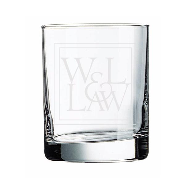 Etched Rocks Glass with Law Logo 11 oz