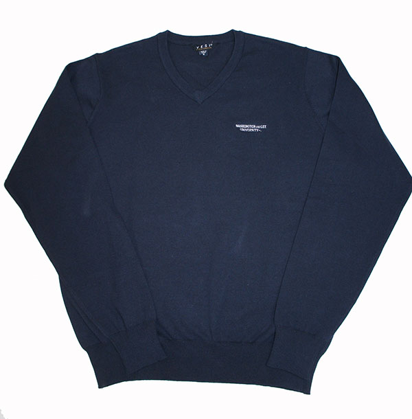V-Neck Sweater with Wordmark, Navy
