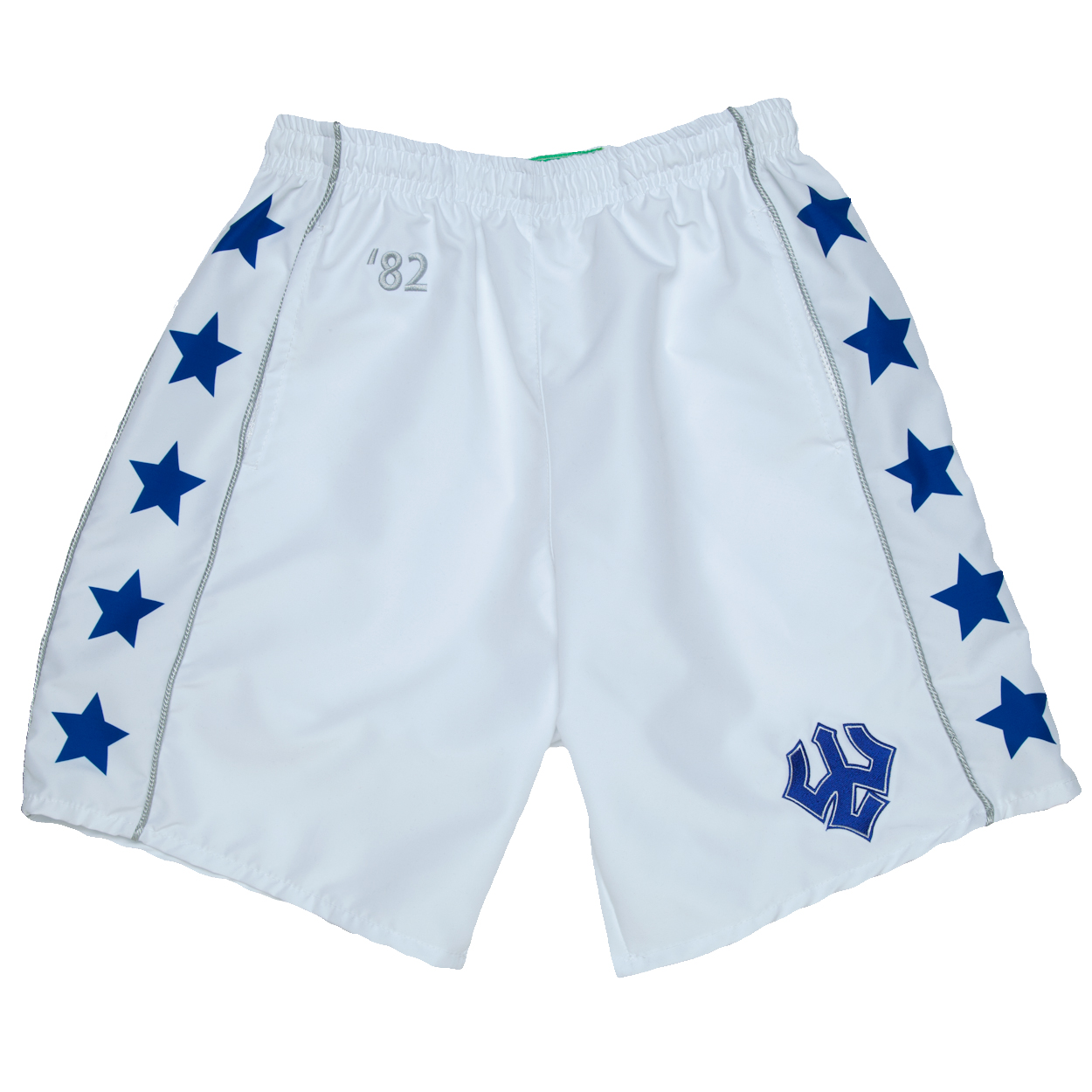 Throwback Lacrosse Shorts, White & Royal
