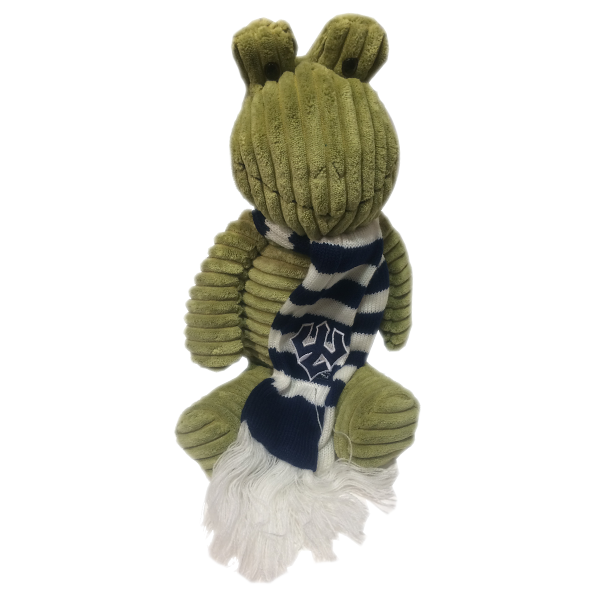 Frog Plush Riblet with Trident Striped Scarf, Green
