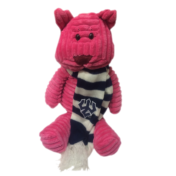 Cat Riblet Plush with Trident Striped Scarf, Pink