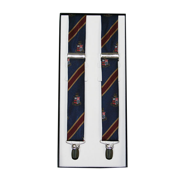 Youth Striped Suspenders with Crest, Navy & Maroon