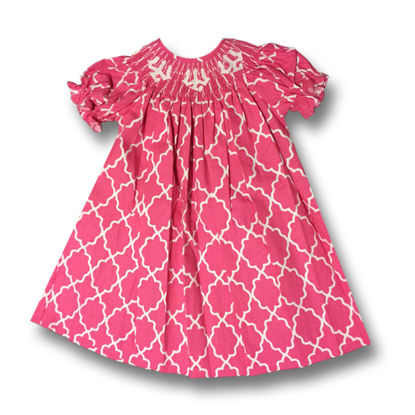 Bishop Dress Hand Smocked with Tridents, Hot Pink
