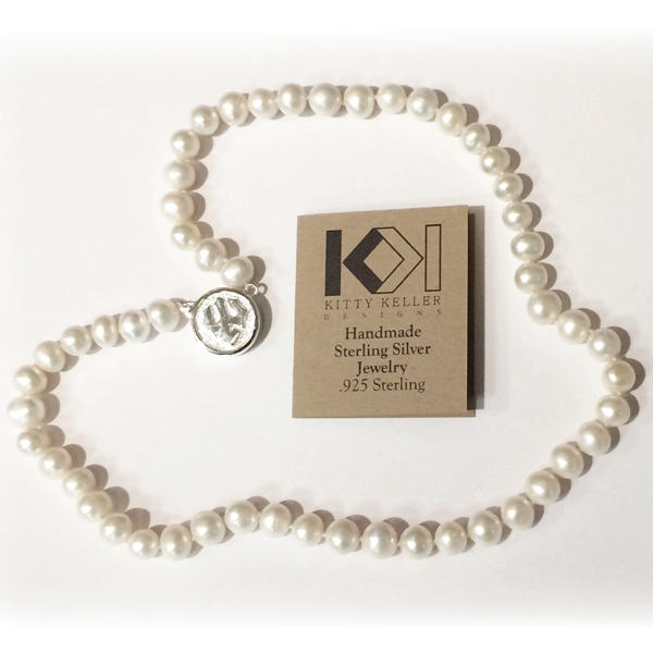 Kitty Keller Pearl Necklace with Sterling Silver Clasp 18""