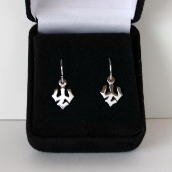 Sterling Silver Trident Dangle Earrings