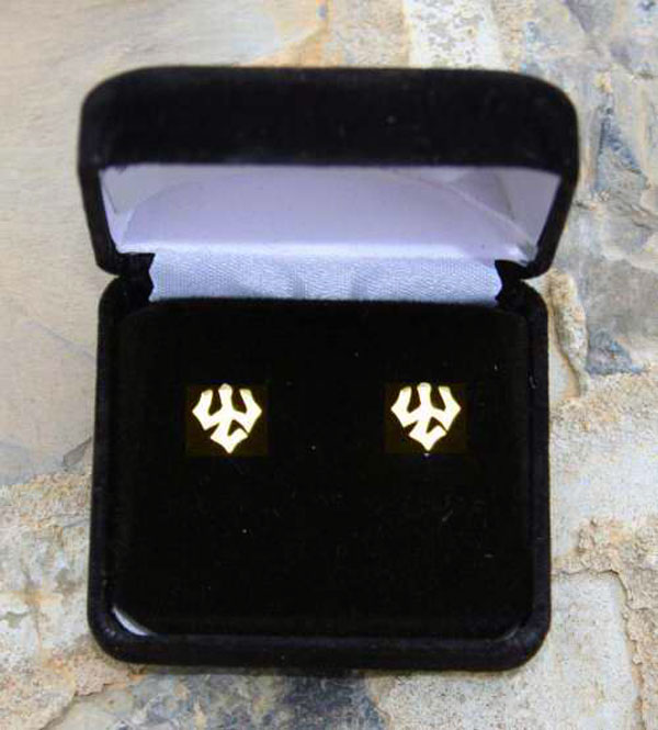 Gold Post Trident Earrings