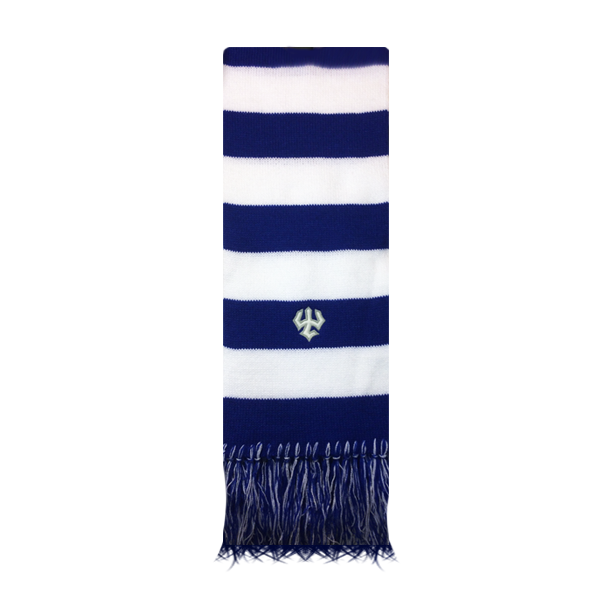 Rugby Scarf with Fringe, Royal & White