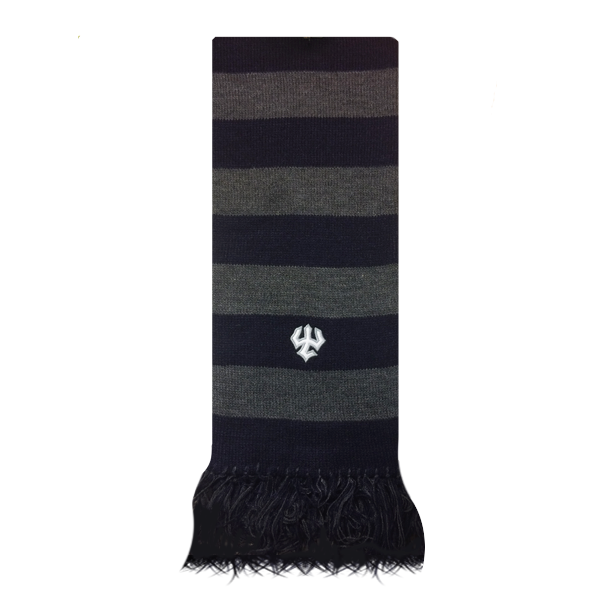 Rugby Scarf with Fringe, Navy & Grey