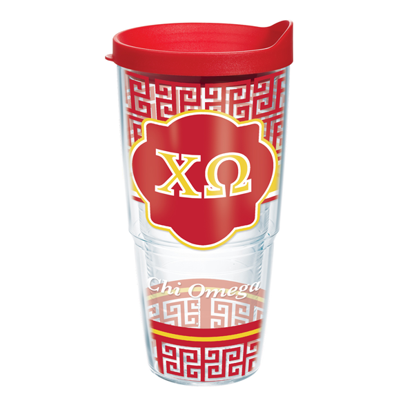 Chi Omega Tervis Tumbler Greek Key Pattern 24 oz