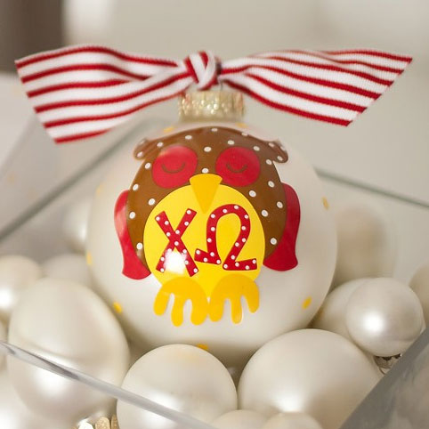 Chi Omega Owl Ball Ornament