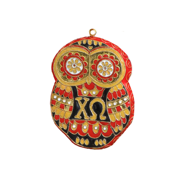 Kitty Keller Chi Omega Owl Ornament