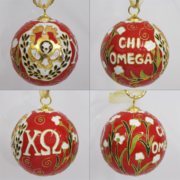Kitty Keller Chi Omega Crest Cloisonne Ornament