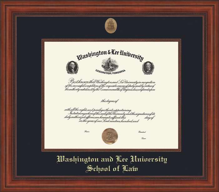 W&L Law Millennium Diploma Frame, Conservation Glass
