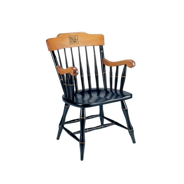 Solid Maple W&L Law Chair, Two Engraved Lines