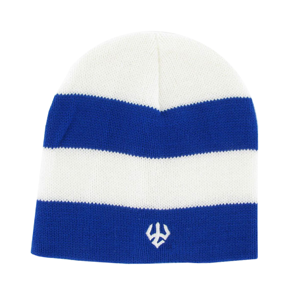 Rugby Stripe Ribbed Beanie, Royal & White