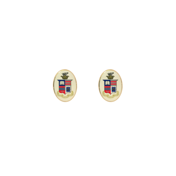 Enameled Crest Cufflinks, Traditional T-Bar