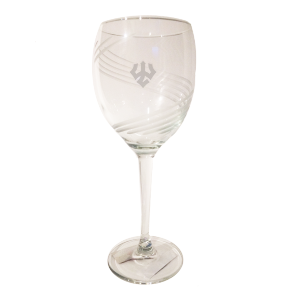 Swirl Cut Trident Wine Glass 10 oz
