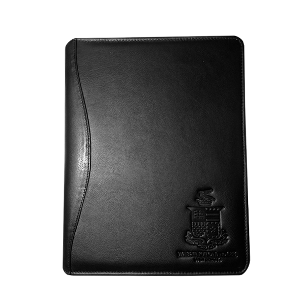 Canyon Leather Meeting Folder with Crest