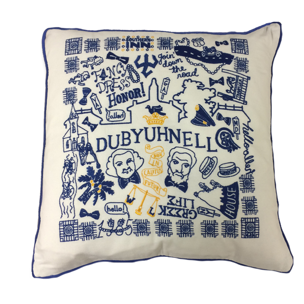 Hand Embroidered Dubyuhnell Pillow