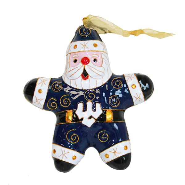 Kitty Keller Cloisonne Santa Ornament