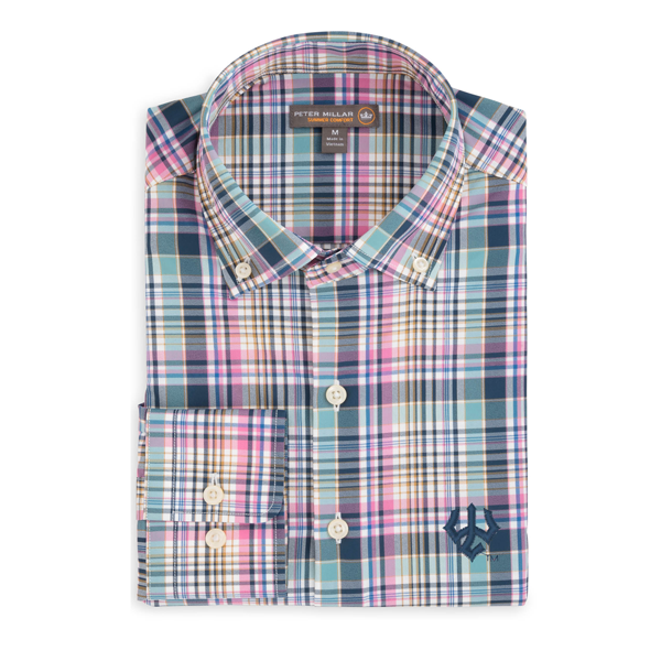 Peter Millar Performance Plaid Buttondown, Midnight