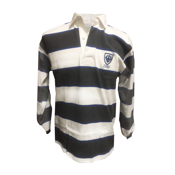 Rugby Shirt with Trident & Shield, White/Royal/Coal Stripe