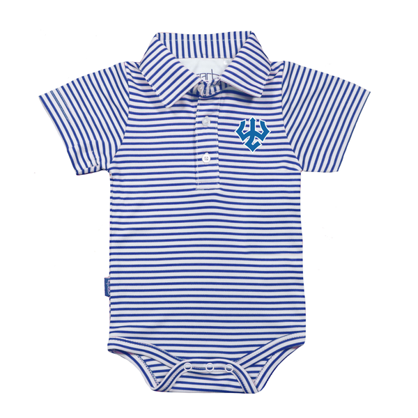 Royal Stripe Polo Onesie, Infant