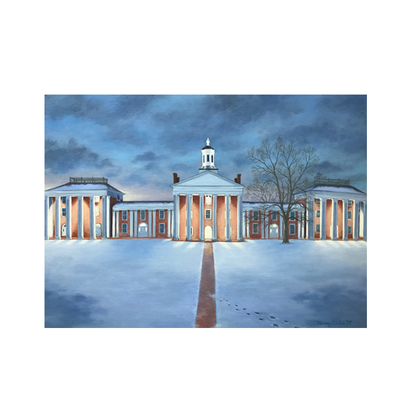 """Winter Glow on the Colonnade"" Tile Print"