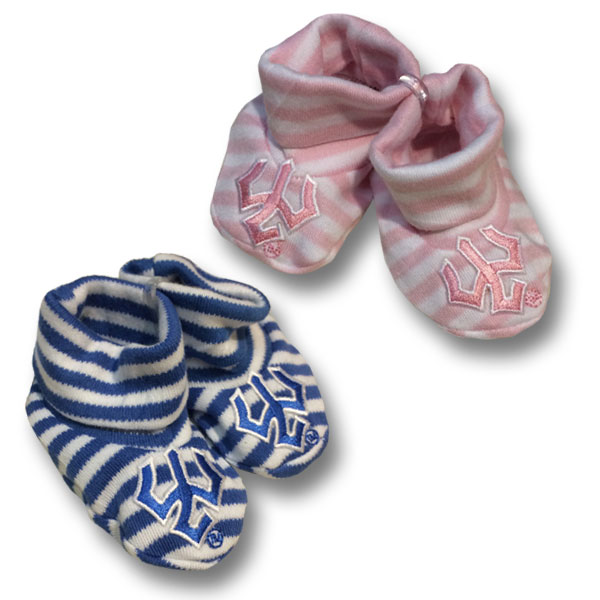 Image For Striped Infant Booties with Trident, Pink or Royal