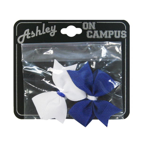 Image For Velcro Hair Bows, Royal & White