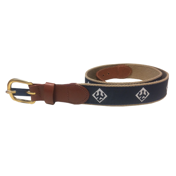 Cover Image For Youth Khaki Back Trident Ribbon Belt, Navy