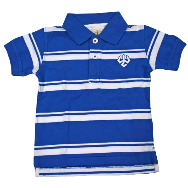 Image For Parker Striped Youth Polo with Trident, Royal and White