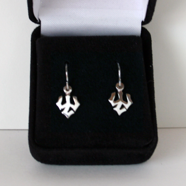 Image For Sterling Silver Trident Dangle Earrings