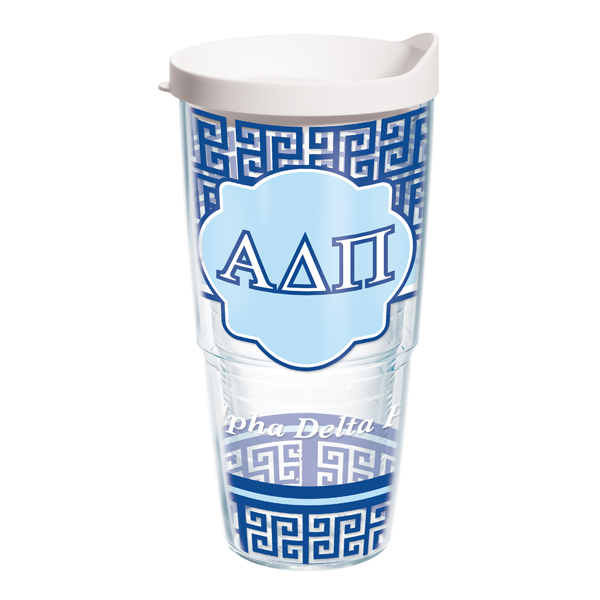 Image For Alpha Delta Pi Tervis Tumbler Greek Key Pattern 24 oz