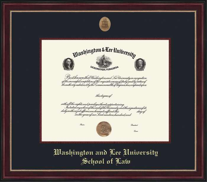 Image For W&L Law Sienna Diploma Frame, Conservation Glass