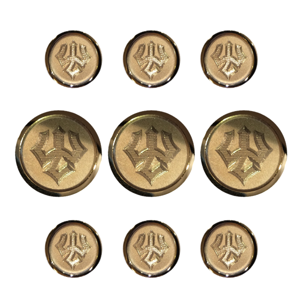Image For Jack Christopher Trident Blazer Button Set, Gold or Silver