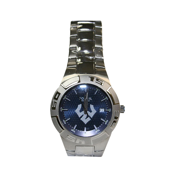 Image For Men's Fossil Watch, Silver with Blue Face