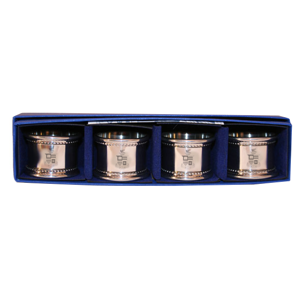 Image For Salisbury Pewter Crest Napkin Ring Set