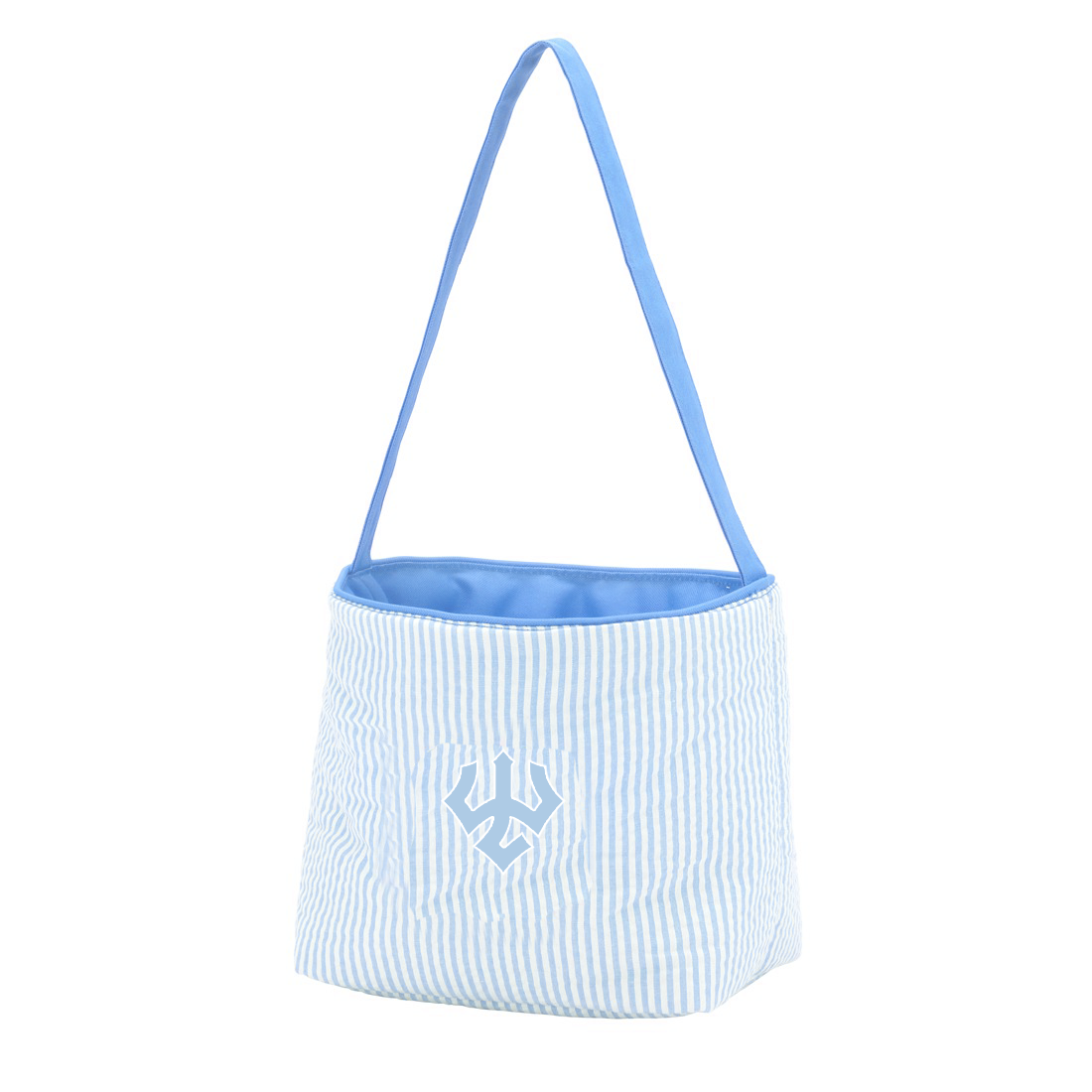 Image For Seersucker Bucket Tote, Blue