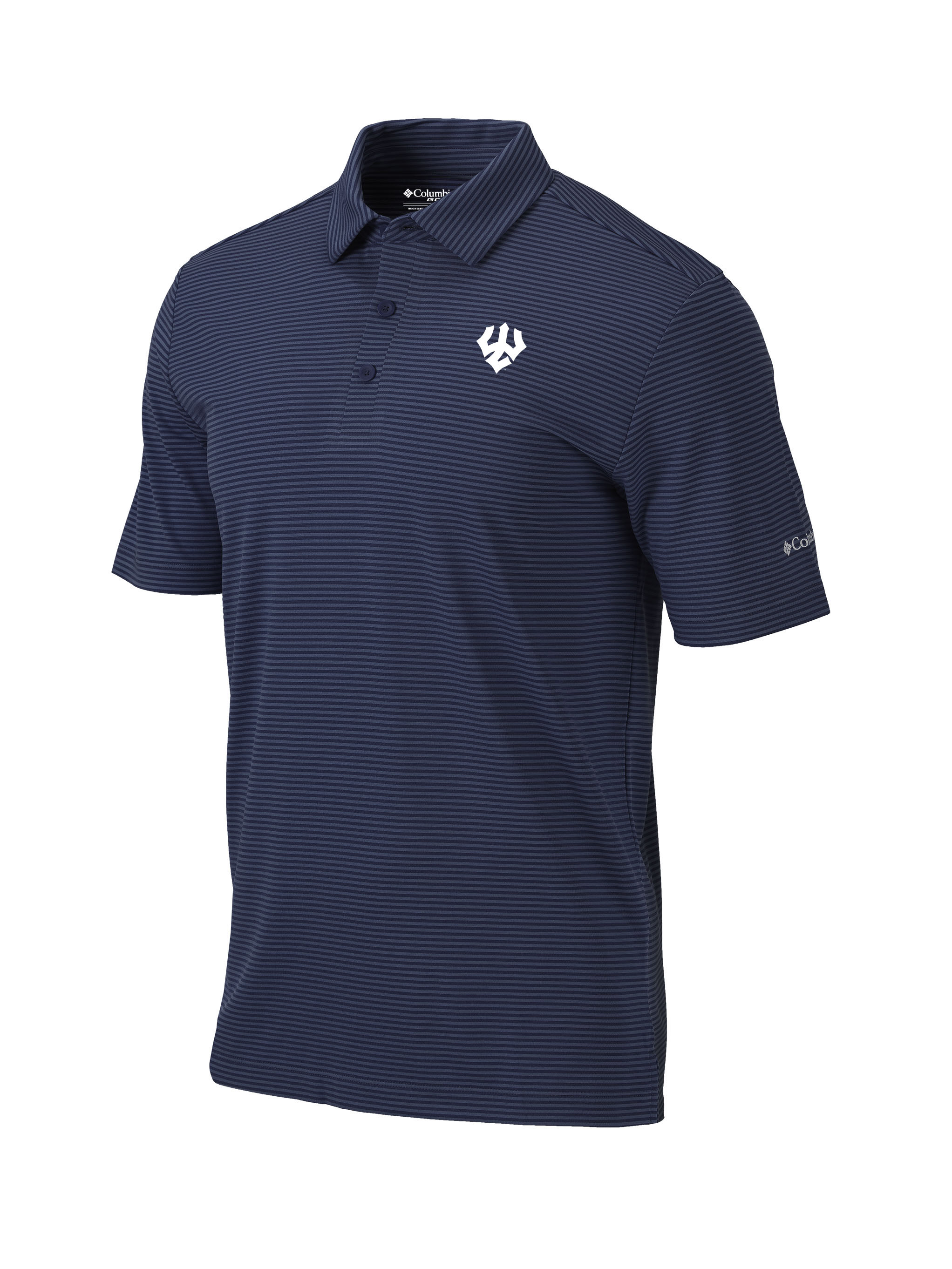 Image For Columbia Navy Swing Striped Polo