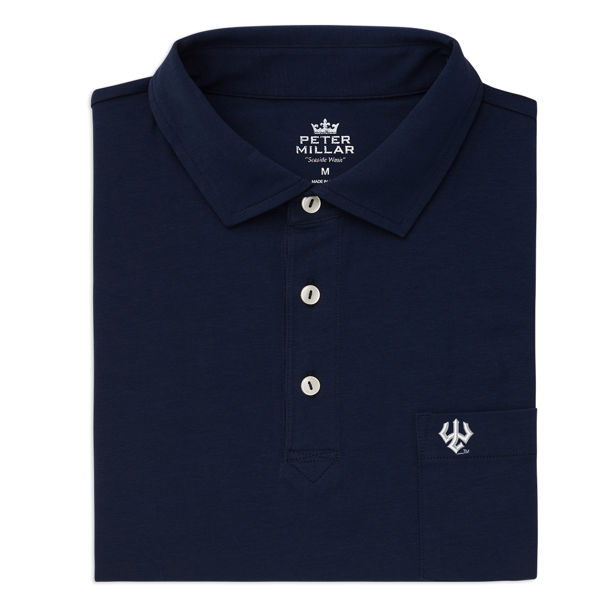 Image For Peter Millar Atlantic Blue Cotton Polo