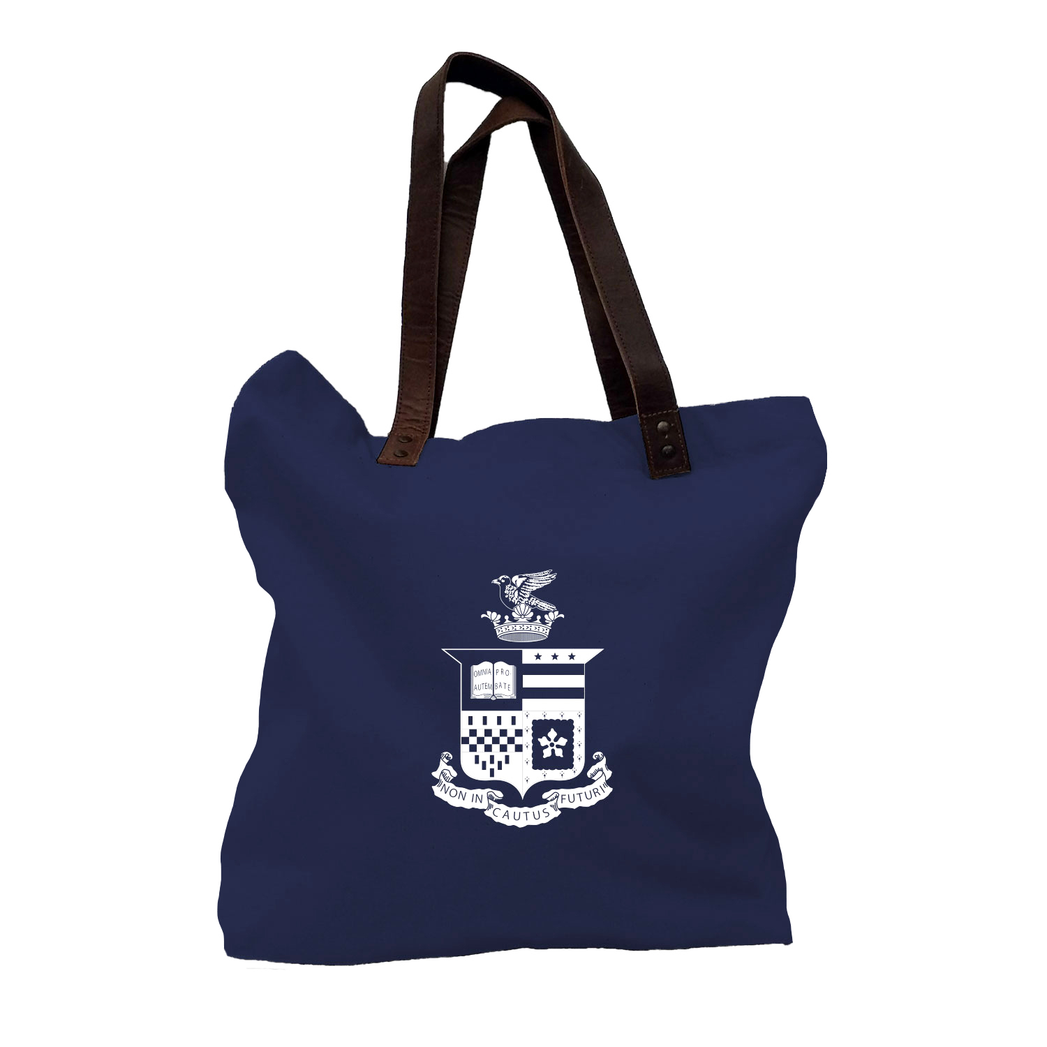 Image For Canvas Crest Tote w/Leather Handles