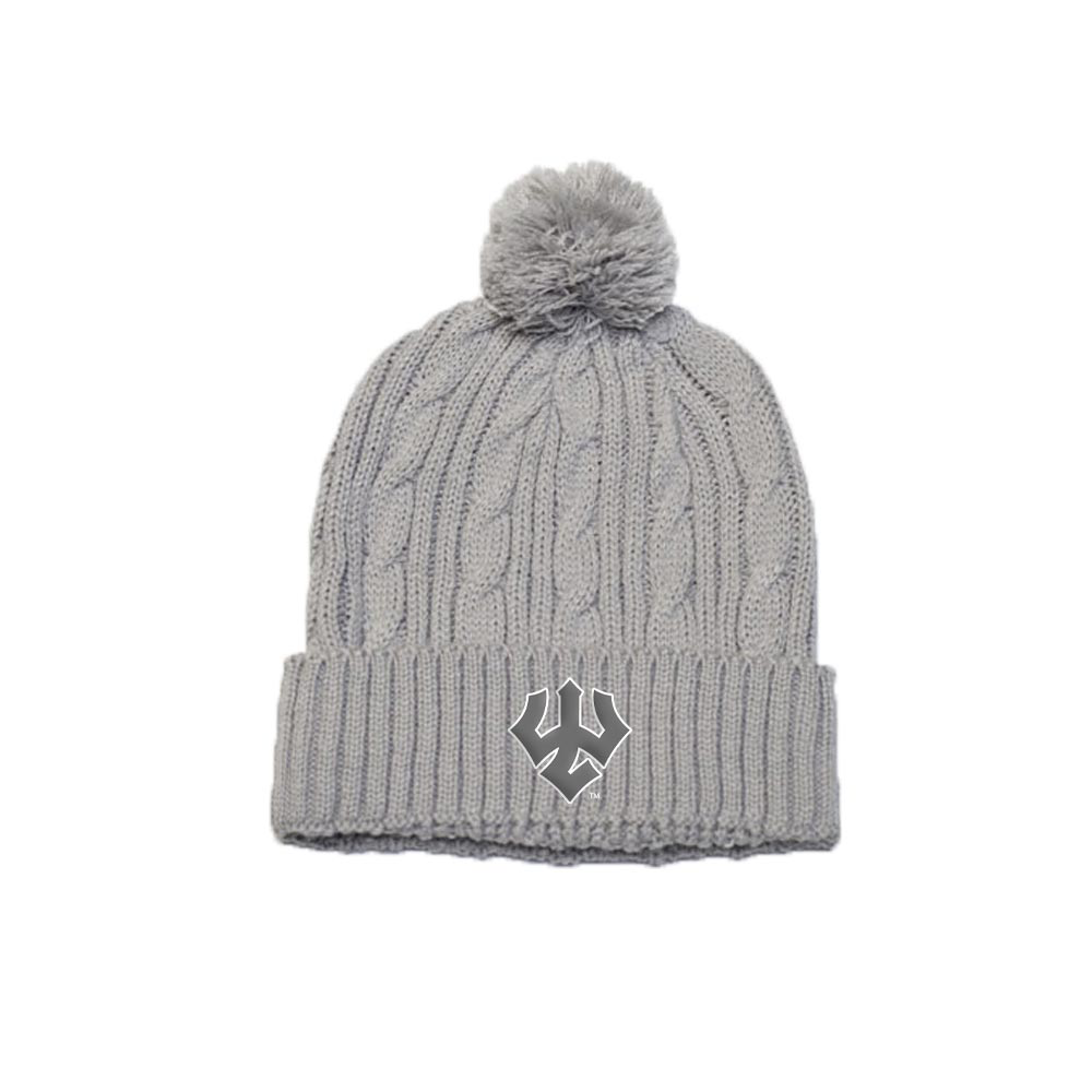 Image For Cable Knit Pom Pom Beanie, Grey or Navy