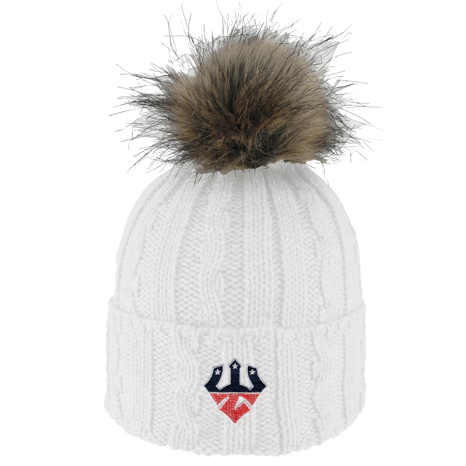 Image For Mock Con Trident Knit Hat with Faux Fur, White