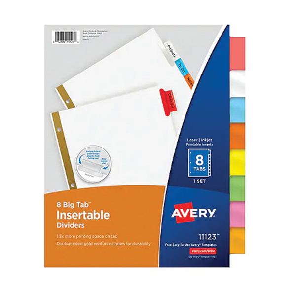 Image For Avery Big Tab Insertable Dividers
