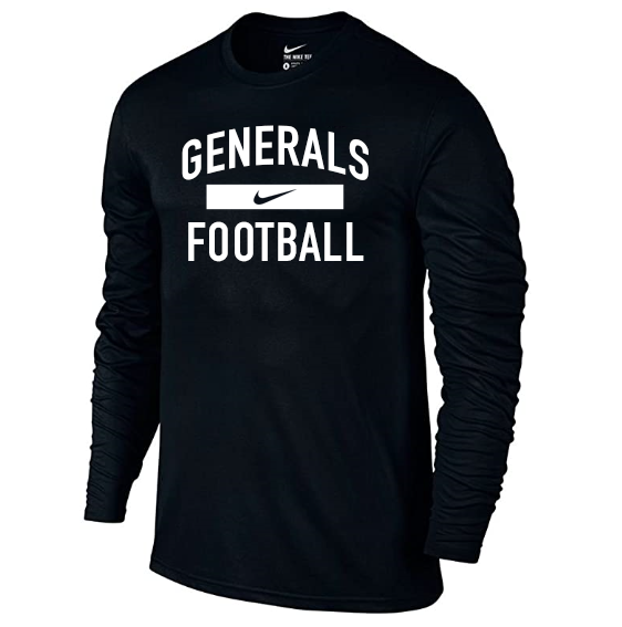 Image For Nike Dri-Fit Football Long Sleeve Tee, Black