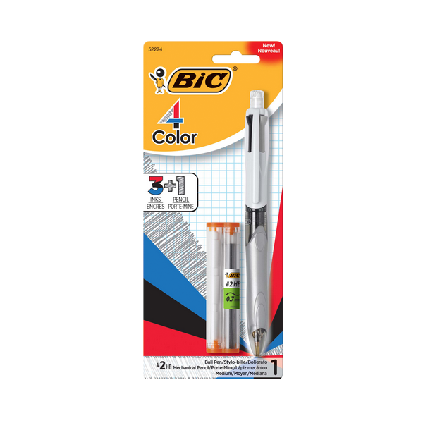Image For BIC Three Color Retractable Pen and Pencil
