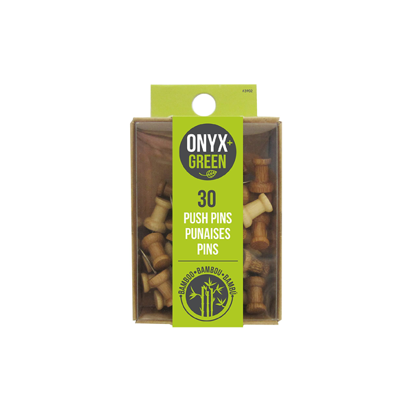 Image For Onyx and Green Bamboo Push Pins