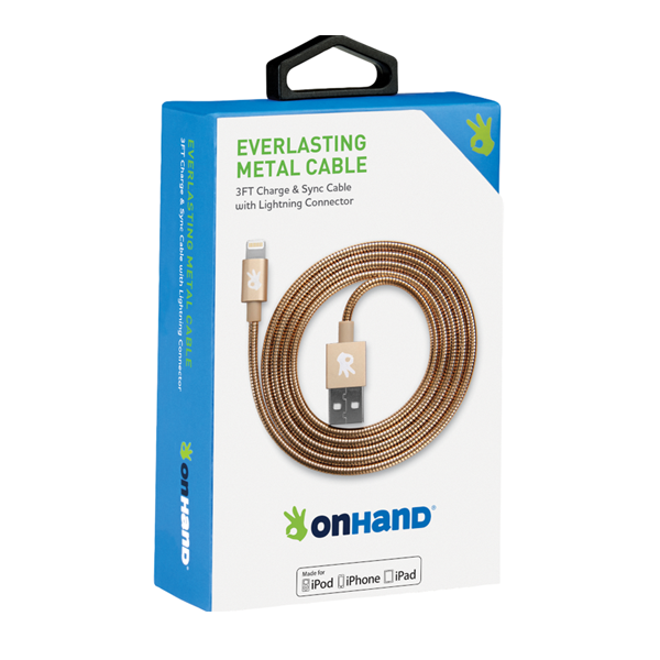 Image For OnHand Everlasting Metal Cable Charger, Gold