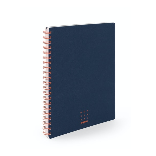 Cover Image For Poppin Work Happy 1-Subject Spiral Notebook, Navy